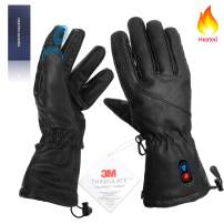 Kamlif Heated Gloves for Men Women Heat Touch Screen Leather Gloves Electric Rechargeable Battery Powered Ski Gloves Hand Warmer in Winter Cold Weather Outdoor Activities