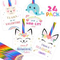 Valentines Day Cards for Kids - Set of 24 Rainbow Pencils Unicorn Valentines - Class Party Favors Valentine day cards Exchange Bulk for Girls Boys School Classroom Supplies