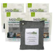 Moso Natural: The Original Air Purifying Bag. Fragrance Free, Chemical Free, Long Lasting, Moisture Absorbing Odor Eliminator. For Cars, Closets, Bathrooms, Pet Areas. Four 200g Charcoal Color Bags