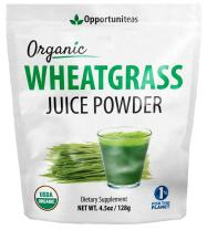Organic Wheatgrass Juice Powder - Grown in USA, Raw, Vegan, Non-GMO - 100% Pure Grass Juice Superfood Supplement - No Juicer Required - Amazing Healthy Green Boost for Recipes or Smoothies - 4.5 oz