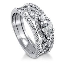 BERRICLE Rhodium Plated Sterling Silver 3-Stone Woven Engagement Wedding Ring Set Made with Swarovski Zirconia Round 1.13 CTW