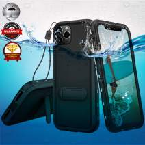 Waterproof Case for iPhone 11, IP68 360 Full Body Underwater iPhone 11 Case with Holder Kickstand, Shockproof Outdoor Sealed Protection Cover for iPhone 11 6.1 inch Waterproof Case -Black