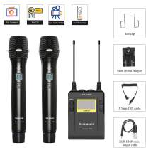 Saramonic UWMIC9 UHF Wireless + Microphones System with Handheld Mic with Transmitter, Receiver, Shoe Mount, XLR/3.5mm Outputs for DSLR Camera Camcorder Video Recording (TX9+HU9+HU9)