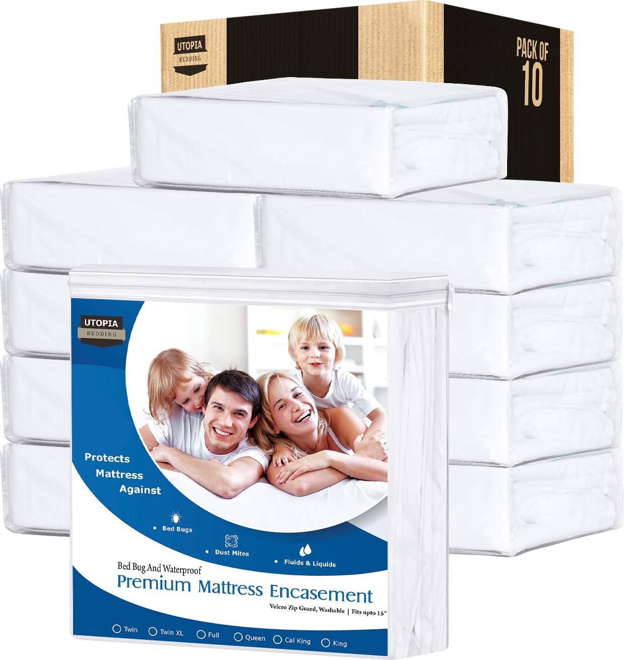 Utopia Bedding Premium Zippered Waterproof Mattress Encasement - Zipper Opening Protector - Fits 15 Inches Deep - Bed Bug Proof (Pack of 10, Cal King)