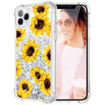 Caka Case for iPhone 11 Pro Max Flower Glitter Case Floral Pattern Liquid Bling TPU Bumper Cushion Protective Luxury Flowing Floating Sparkle Women Girl Case for iPhone 11 Pro Max(Sunflower)
