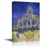 "wall26 The Church in Auvers-sur-Oise, View from The Chevet by Vincent Van Gogh - Canvas Print Wall Art Famous Painting Reproduction - 12"" x 18"""