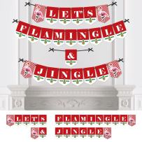 Big Dot of Happiness Flamingle Bells - Party Bunting Banner - Tropical Flamingo Christmas Party Decorations - Let's Flamingle and Jingle