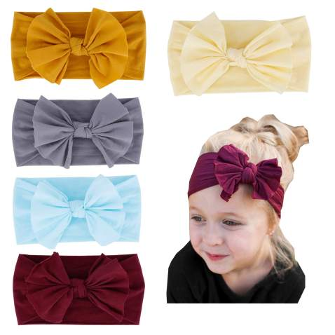 10Pcs Baby Girl Headbands and Bows Knot Nylon Headwrap Hair Bands for Newborn Toddler Children