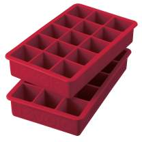 """Tovolo 22017-400 Perfect Ice Mold Freezer Tray of 1.25"""" Cubes for Whiskey Bourbon, Spirits & Liquor, BPA-Free Silicone, Fade Resistant, Set of 2, Cayenne"""