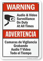 "SmartSign ""Warning - Audio & Video Surveillance On Duty At All Times"" Bilingual Sign 