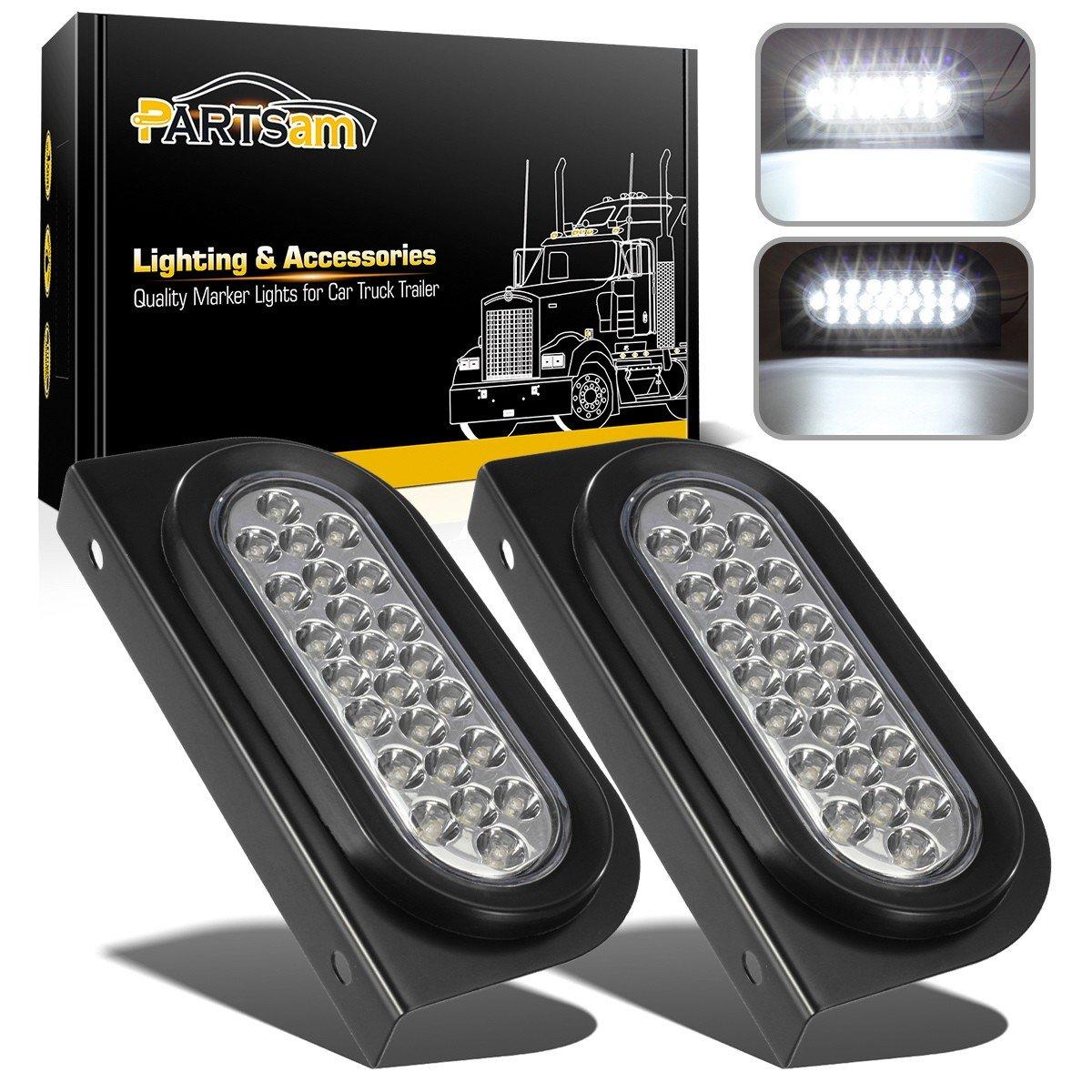 "Partsam 2pcs Waterproof 6"" inch Oval Sealed Stop Turn Tail Reverse Backup Fog Marker White 24 LED Truck Trailer Light Kit Flush Mount w/Mounting Brackets"