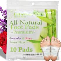 Dr. Entre's 2-in-1 Foot Pads: Organic All Natural Formula for Impurity Removal, Pain Relief, Sleep Aid, Relaxation | Aroma Infused 10 Pack Free Foot Care E-Book Included