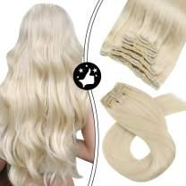 Platinum Blonde Clip in Hair Extensions Moresoo 18 Inch Hair Extension Clip in Human Hair Color #60 Clip in Remy Hair Extensions Clip in Human Hair 100G/7Pieces Clip Hair Extensions Remy Hair