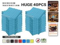 "Acepunch 40 Pack BABY BLUE Pyramid Acoustic Foam Panel DIY Design Studio Soundproofing Wall Tiles Sound Insulation 19.6"" x 19.6"" x 1.9"" AP1034"