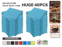 """Acepunch 40 Pack BABY BLUE Pyramid Acoustic Foam Panel DIY Design Studio Soundproofing Wall Tiles Sound Insulation 19.6"""" x 19.6"""" x 1.9"""" AP1034"""