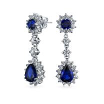 Crown Halo Royal Blue Cubic Zirconia Pear Teardrop Chandelier Earrings For Prom CZ Simulated Sapphire Silver Plated