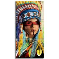 KALAWA Indian Woman Native American Wall Art for Girl Gifts Feathered Headdress Framed American Decor Canvas Wall Art 3 Piece Original Oil Painting Poster for Bedroom Living Room Decoation(28Wx20H)