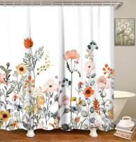"LIVILAN Fabric Floral Shower Curtain Set with 12 Hooks Watercolor Decorative Bath Curtain Modern Bathroom Accessories, Machine Washable, Multi-Color Flowers and Leaves, 72"" X 72"""