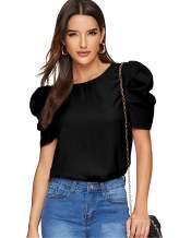 Floerns Women's Round Neck Short Puff Sleeve Keyhole Back Blouse Tops