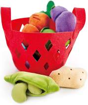 Hape Toddler Vegetable Basket |Soft Vegetable Shopping Basket, Toy Grocery Food Playset Includes Cabbage, Bean Pod, Carrot, and More