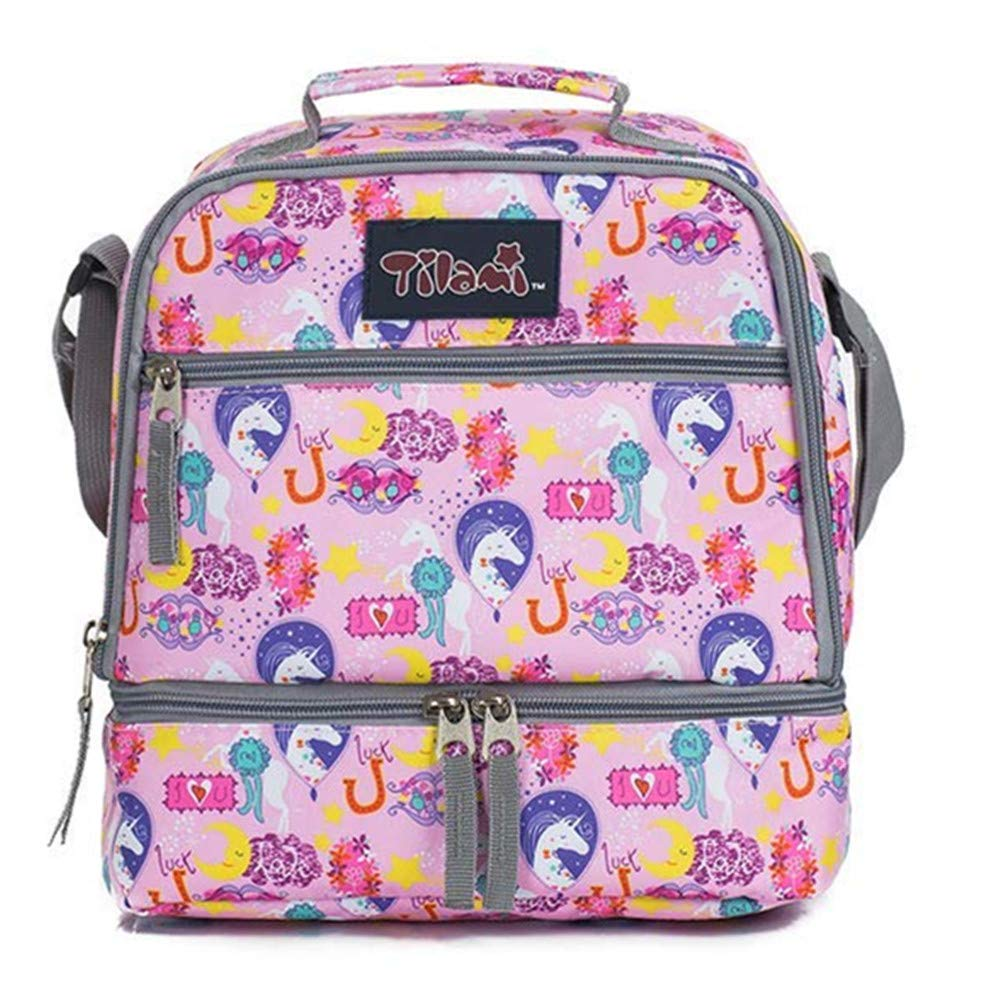 Tilami Lunch Bags Insulated Adjustable Strap Zipper, Two Compartments Cooler Bags, Bento Bags for Kids Toddlers, Unicorn