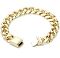 Hollywood Jewelry Cuban Link Bracelet for Men [ 9mm Miami Curb Chain ] with up 20X More 18k Real Gold Plating Than Other Wrist Charms - Free Lifetime Replacement Guarantee