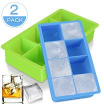 2 Pack Ice Cube Trays with Lids, ACMETOP 8 - Ice Cube Trays Silicone, Flexible and Easy Release Large Ice Cube Tray for Whiskey, Cocktail, Soda, Baby Food and Frozen Treats - BPA Free, Dishwasher Safe