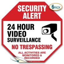 """(6 Pack) Security Alert Video Surveillance No trespassing Sign, Premium 4 Mil Self Adhesive Vinyl Decal, Indoor and Outdoor Use, by My Sign Center (5.5"""" X 5.5"""")"""