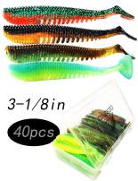 DZRZVD Soft Fishing Lures – Paddle Tail Swimbaits, Soft Jerk Baits,Curved Tail Grub, Thin Tail,Noodle Worms,Straight Tail,30/40/50/80/120/150pcs, 2/3/4/5in, Multiple Colors, with Box