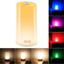 Night Light Lamp, Dostyle Touch Bedside Lamp &7 Colors Changing Light Table Lamp + Dimmable Warm White Light w/LED Time Display Sunrise Alarm Clock/Eye-Caring LED Lights for Bedroom Decor/Baby/Kids