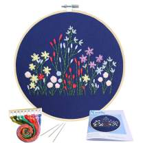 Full Range of Embroidery Starter Kit with Pattern, Kissbuty Cross Stitch Kit Including Embroidery Cloth with Plants Pattern, Bamboo Embroidery Hoop, Color Threads and Tools Kit (Floral Plants)