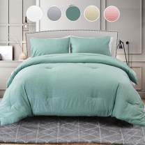 Seersucker Queen Comforter Set 3PC All Season Reversible Down Alternative Quilted Duvet Insert, Hypoallergenic Microfiber Filling, Luxury Hotel Quality Bedding Sets in a Bag, Size 90 inch, Teal Green