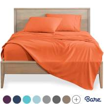 Bare Home Twin XL Sheet Set - College Dorm Size - Premium 1800 Ultra-Soft Microfiber Sheets Twin Extra Long - Double Brushed - Hypoallergenic - Wrinkle Resistant (Twin XL, Orange)