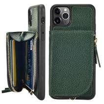 LAMEEKU Wallet Case for iPhone 11 Pro Max, Leather Zipper Case with Card Holder Card Slot Wrist Strap, Shockproof Protective Cover Case Compatible for iPhone 11 Pro Max 6.5'' 2019 - Midnight Green