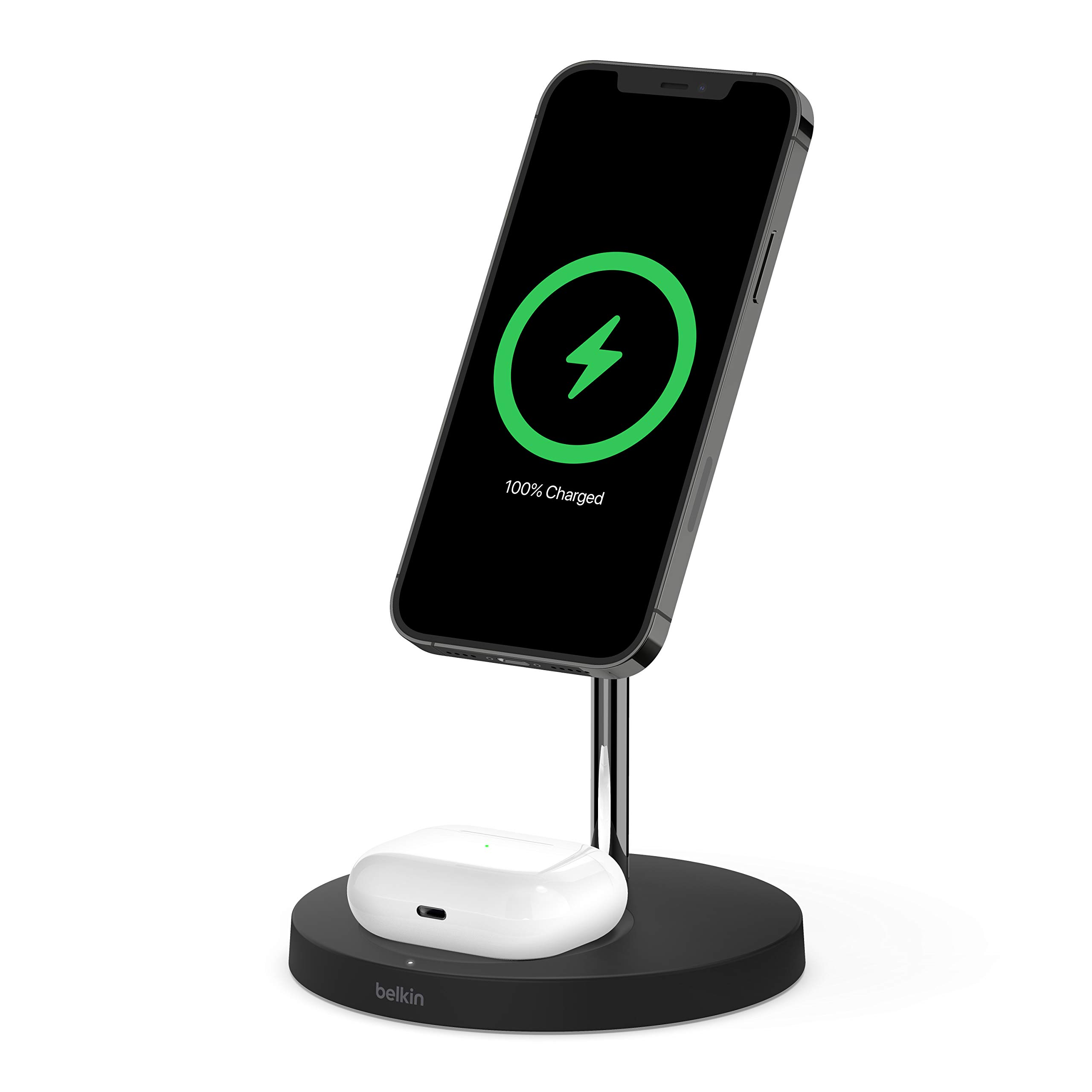 Belkin MagSafe 2-in-1 Wireless Charger, 15W Fast Charging iPhone Charger Stand for iPhone 12, 12 Pro, 12 Pro Max, 12 Mini, AirPods