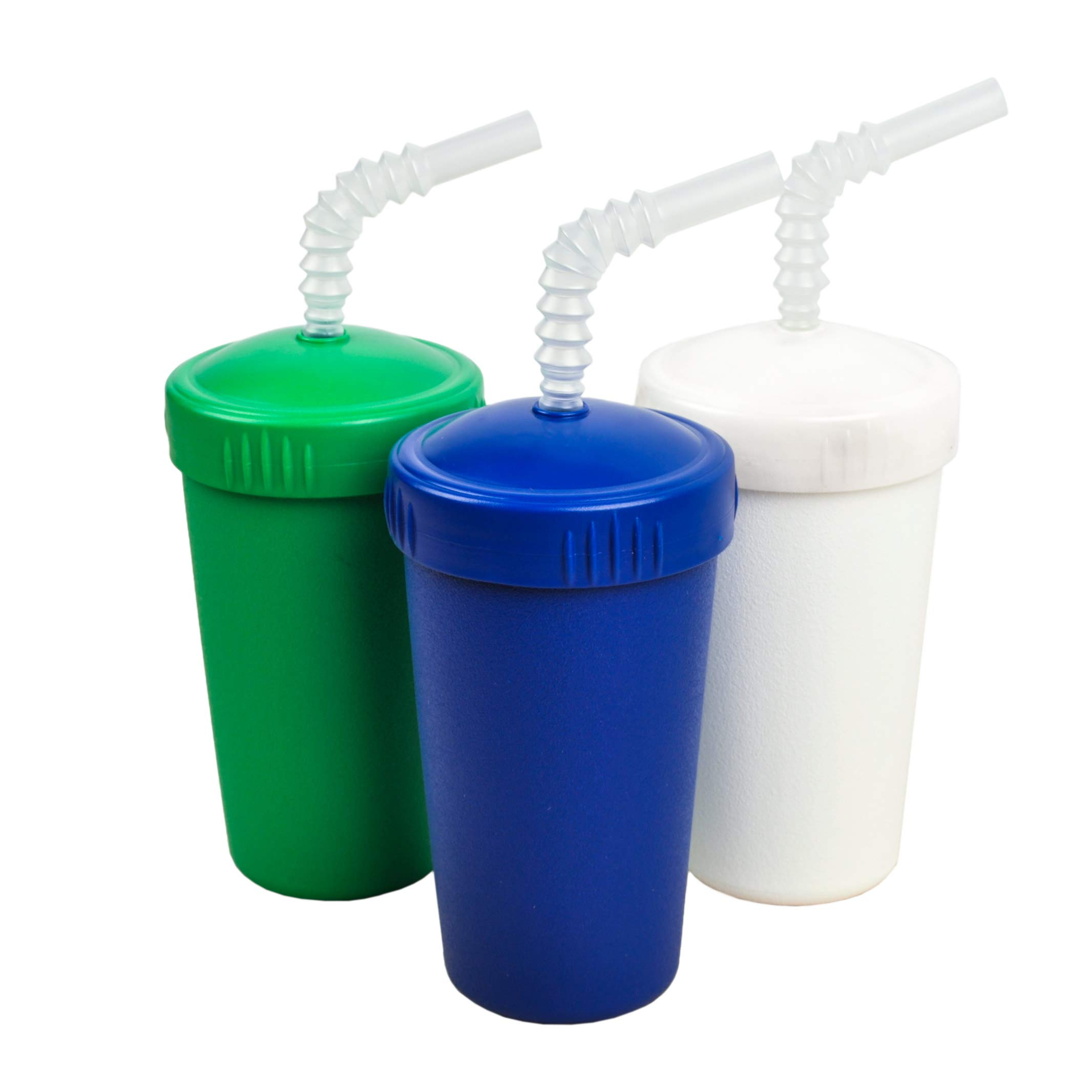 Re-Play Made in USA 3pk Straw Cups with Reversable Straw for Easy Baby, Toddler, Child Feeding - Kelly Green, White, Navy (Nautical)