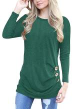 WNEEDU Women's Casual Long Sleeve Tunic Tops Fall Tshirt Blouses