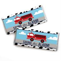 Fired Up Fire Truck - Candy Bar Wrapper Firefighter Firetruck Baby Shower or Birthday Party Favors - Set of 24
