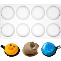 FUNSHOWCASE 8 Cavities Curved Round Stone Silicone Mold Tray per Cavity 2.4x2.4x1.1inch