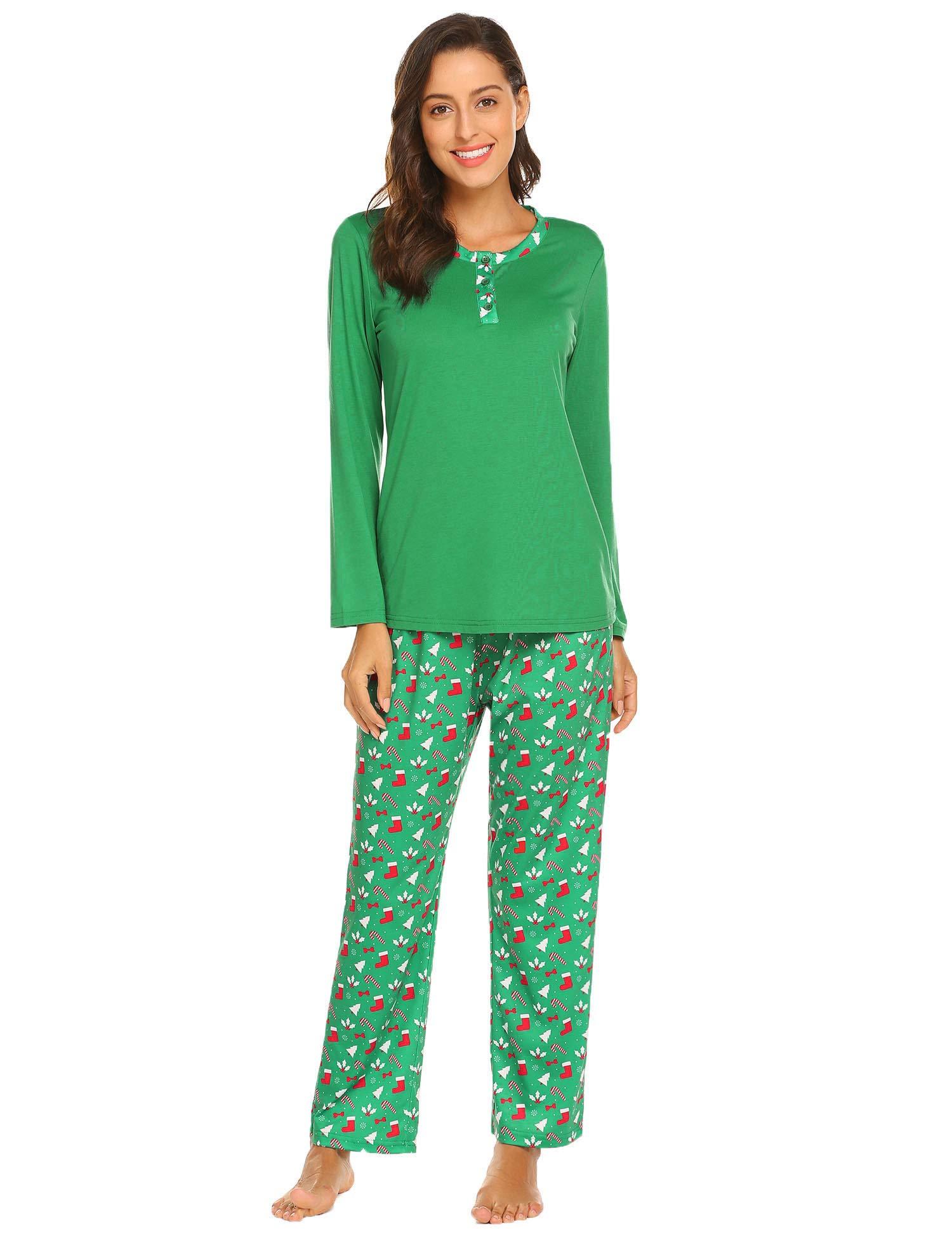 Ekouaer Christmas Pajamas Set Matching Family Christmas Pjs Set Holiday Pajamas for Women Reindeer Sleepwear