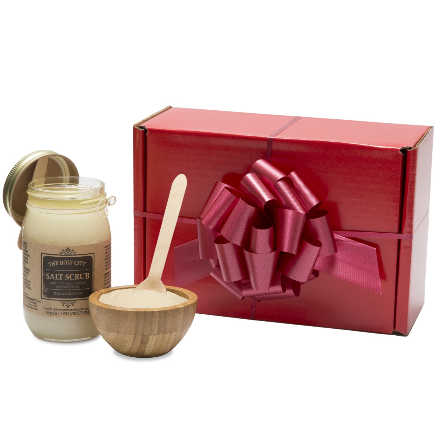 Gift Box Set - Holy City Skin Products Revitalizing Dead Sea Salt Hand and Body Scrub Gift Set with Wooden Bowl (Lavender)