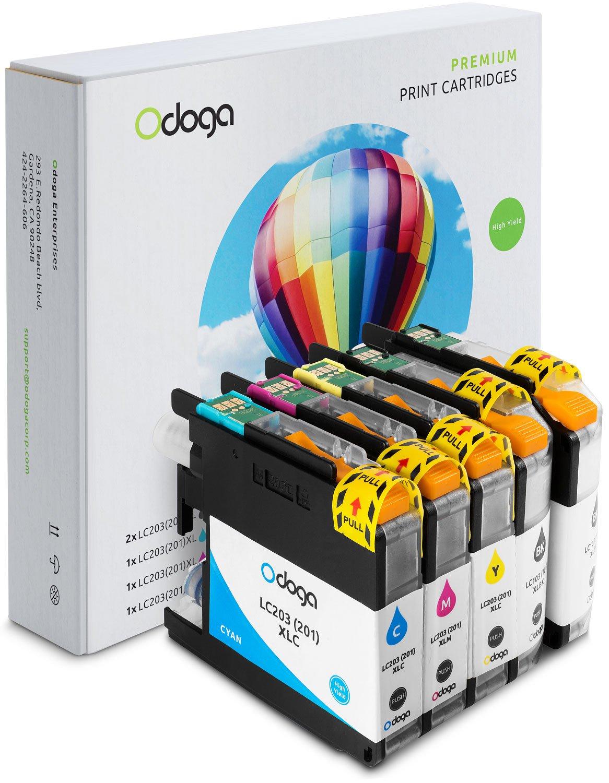 Odoga 5 Pack LC201 LC203 LC203XL Ink Cartridge Replacement for Brother MFC-J480DW J485DW J4420DW J885DW J4620DW J460DW J5520DW J680DW [2 Black, 1 Cyan, 1 Magenta, 1 Yellow] - High Yield Combo Pack