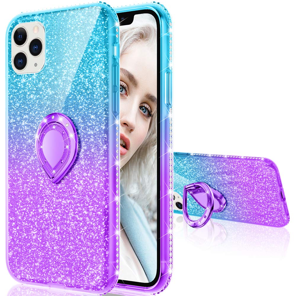 Maxdara Case for iPhone 11 Pro Max Case Glitter Ring Kickstand Case for Girls Women with Bling Sparkle Diamond RhinestoneStand Holder Case for iPhone 11 Pro Max 6.5 inches (Teal Purple)