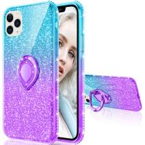 Maxdara Case for iPhone 11 Pro Max Case Glitter Ring Kickstand Case for Girls Women with Bling Sparkle Diamond Rhinestone Stand Holder Case for iPhone 11 Pro Max 6.5 inches (Teal Purple)