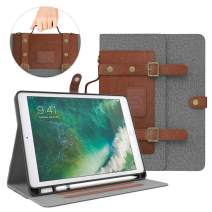 Dadanism iPad 9.7 Case 2018/2017, 9.7 Inch iPad 5th/6th Generation Case, Soft TPU Back Handbag Smart Stand Cover Case with Handle [Card Slots & Pencil Holder], Auto Sleep/Wake - Denim Grey & Brown
