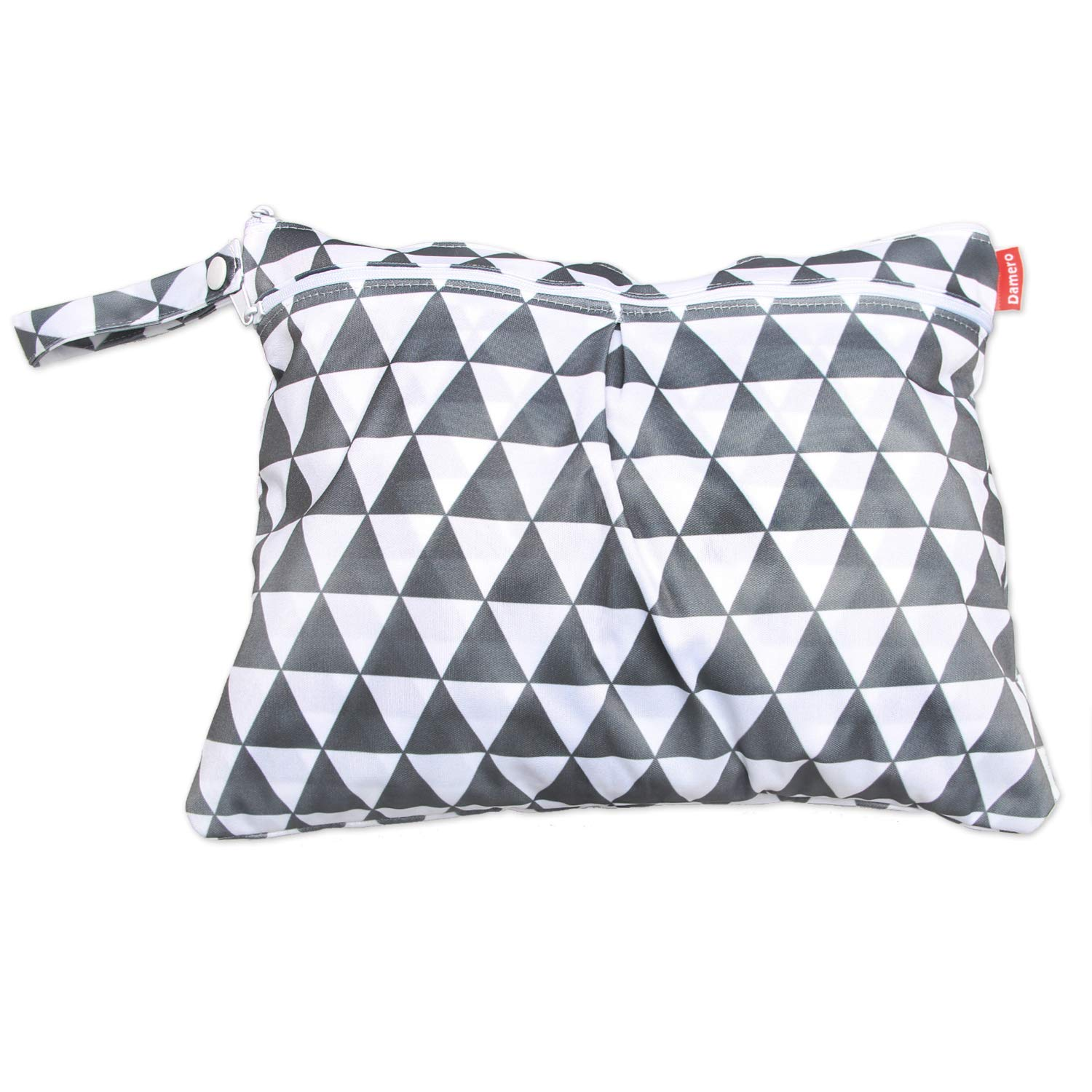 Damero Travel Wet and Dry Bag with Handle for Cloth Diaper, Pumping Parts, Clothes, Swimsuit and More, Easy to Grab and Go (Small, Gray Triangle)
