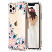 """Hepix Pink Flowers iPhone 11 Pro Max Case Blooming Floral Clear Pro Max 11 Case, Slim Soft Flexible TPU Frame with Protective Cushion Corners, Anti-Scratch Shock Absorbing for iPhone 11 Pro Max (6.5"""")"""