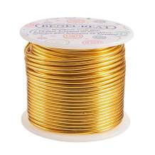 BENECREAT 12 17 18 Gauge Aluminum Wire (12 Gauge,100FT) Anodized Jewelry Craft Making Beading Floral Colored Aluminum Craft Wire - Light Gold