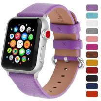 Fullmosa Classic Litchi Leather Watch Band for Series 4/3/2/1, 12 Colors iWatch Band Women Men with Silver Buckle 42mm,Purple