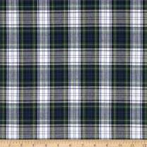Carr Textile Poly/Cotton Uniform Plaid Blue/Green/White/Yellow Poplin Fabric By The Yard